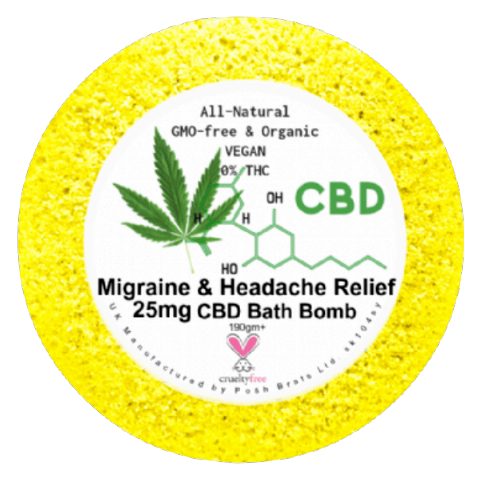Migraine & Headache CBD Hemp Oil Aromatherapy Bath Bomb - 25mg